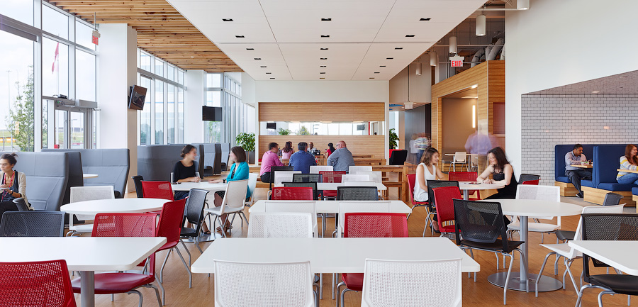 Not just a lunch room, at TJX's headquarters this space sees informal meetings at all times of the day