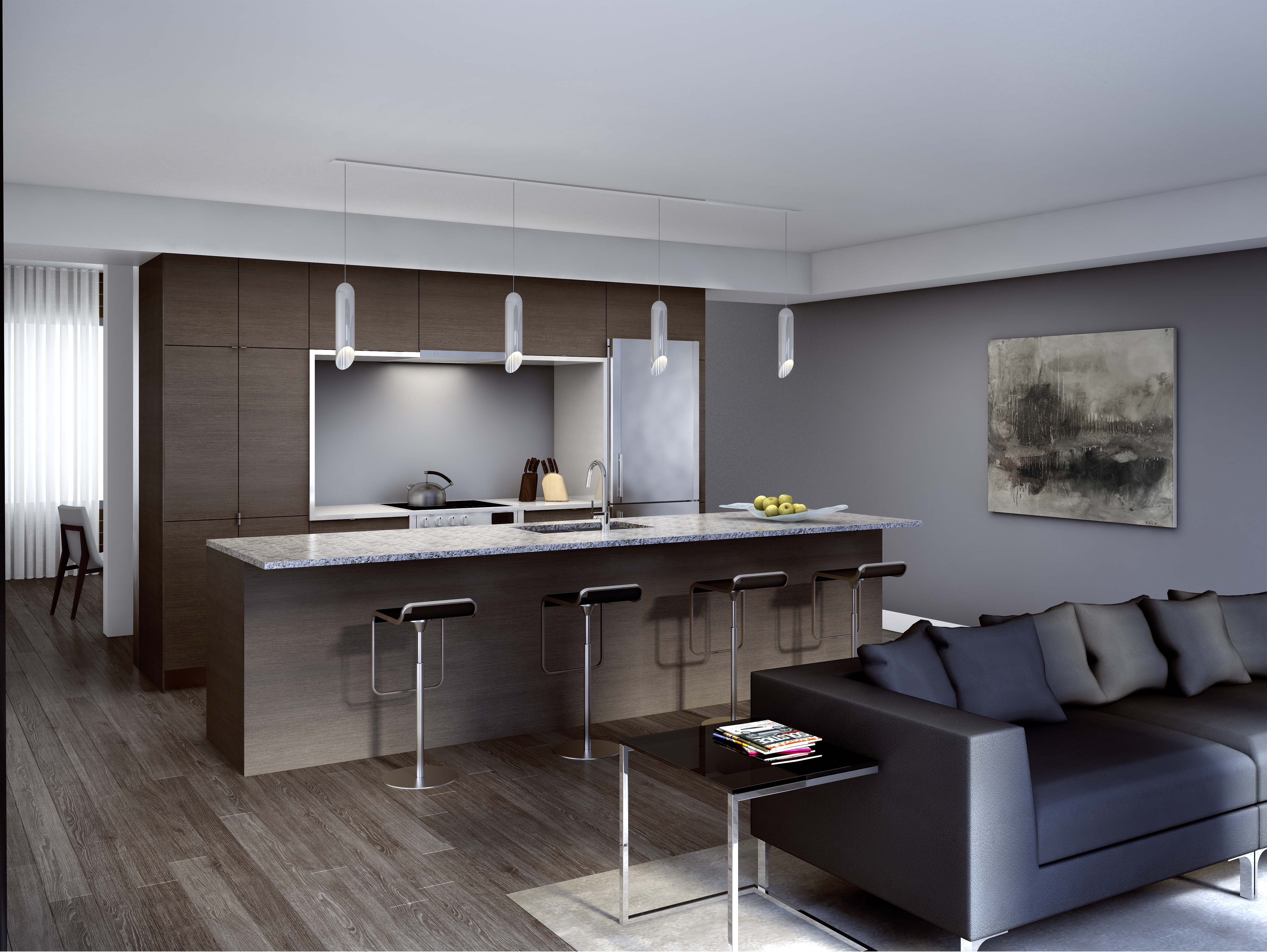 Great Gulf Trafalgar Landing living space rendering with dark wood kitchen, bar stools at island, and black leather sofa