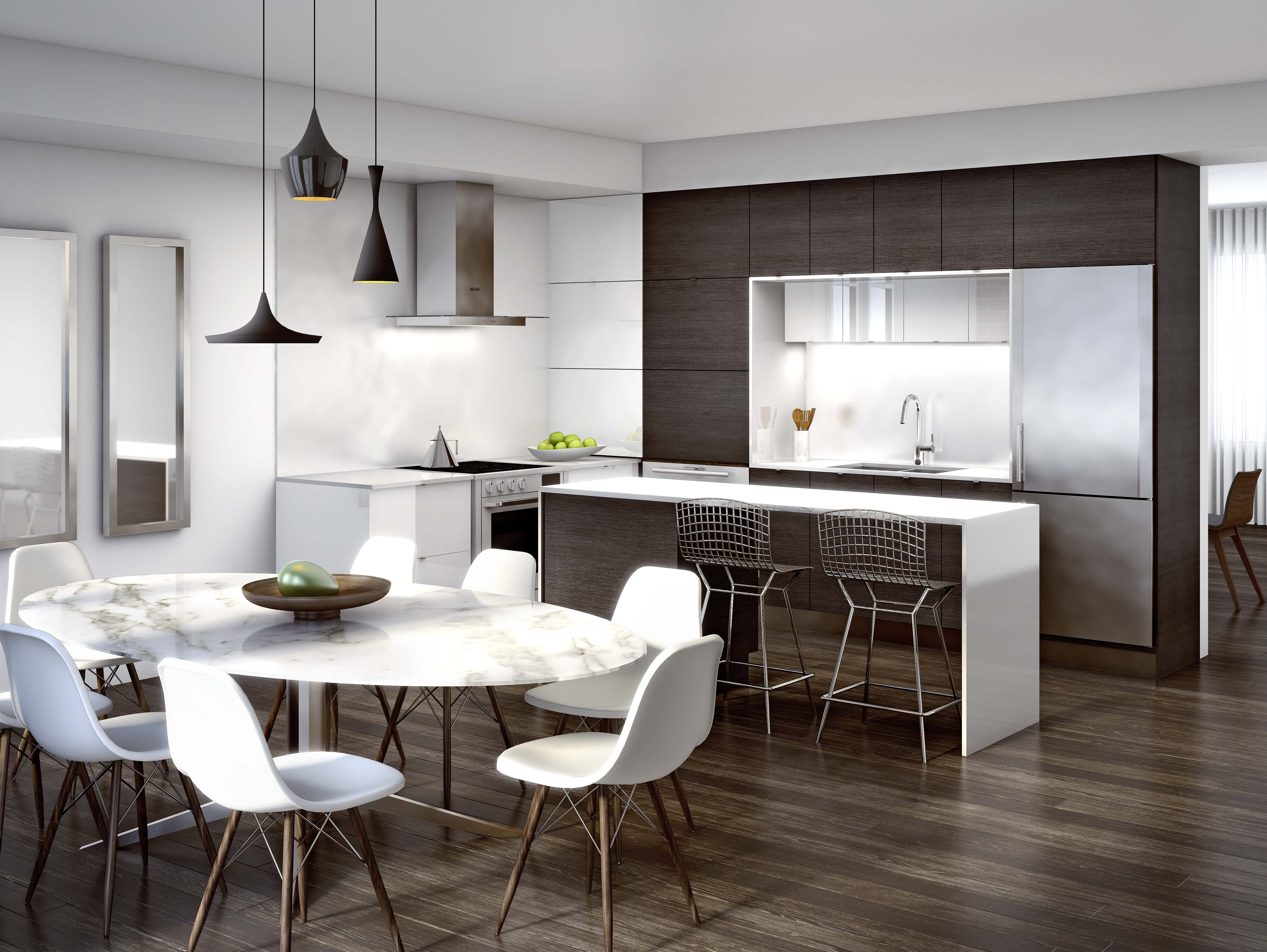 Great Gulf Trafalgar Landing rendering of kitchen with dark brown cabinets and white marble table with white chairs