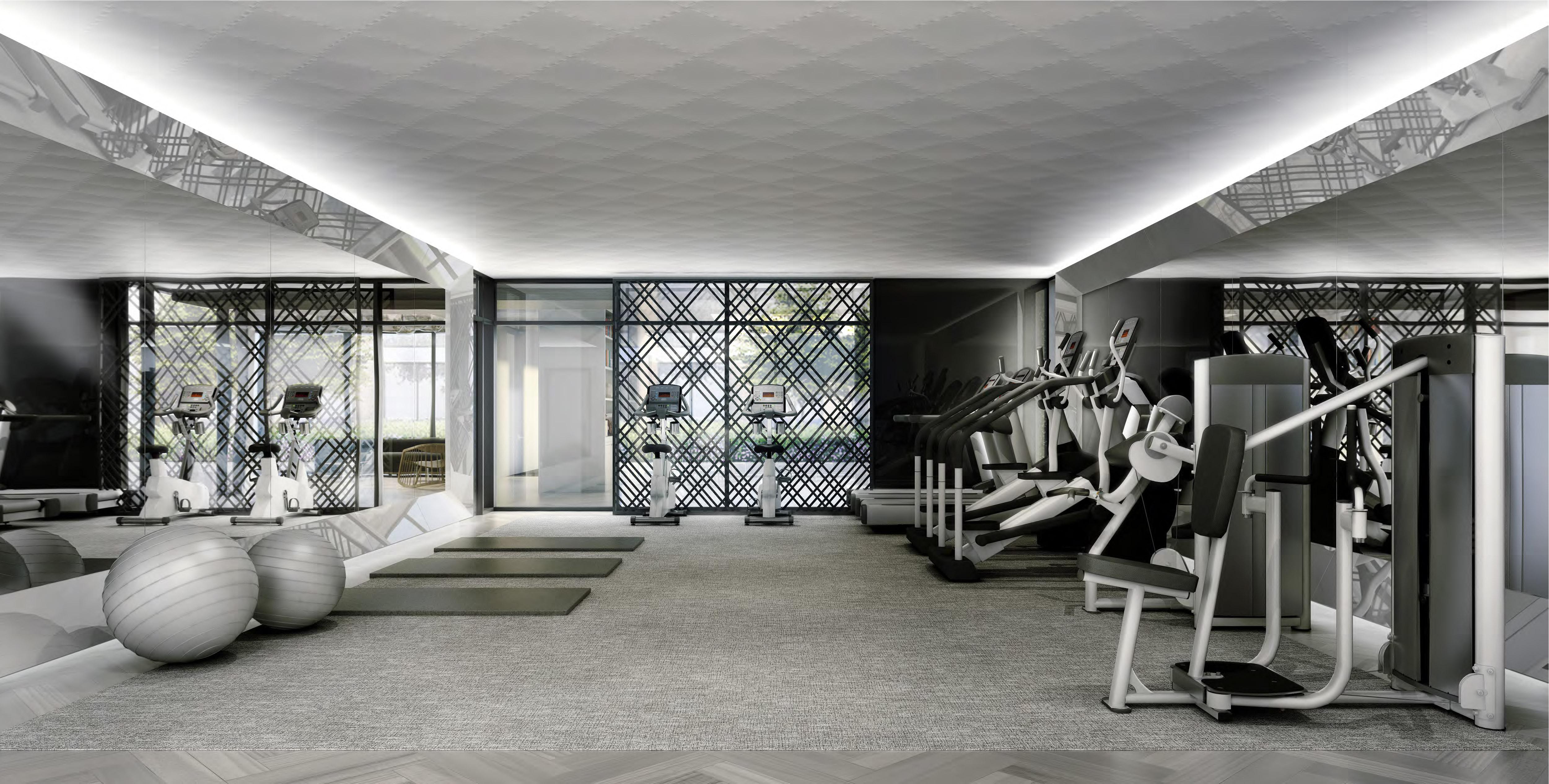 Great Gulf Trafalgar Landing rendering of gym with grey patterned carpeting, black crisscross metal screen, and workout equipment
