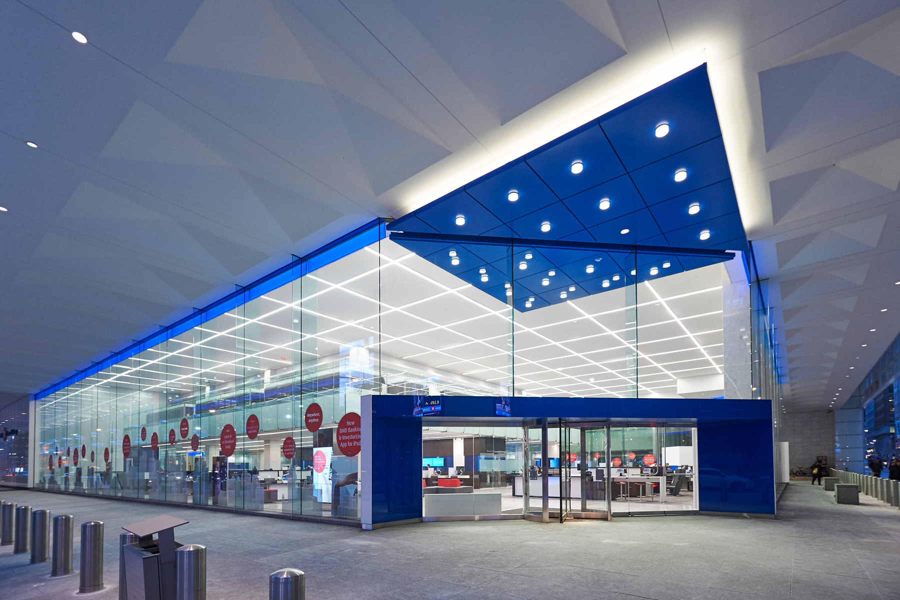 BMO entrance with glass facade and blue accents
