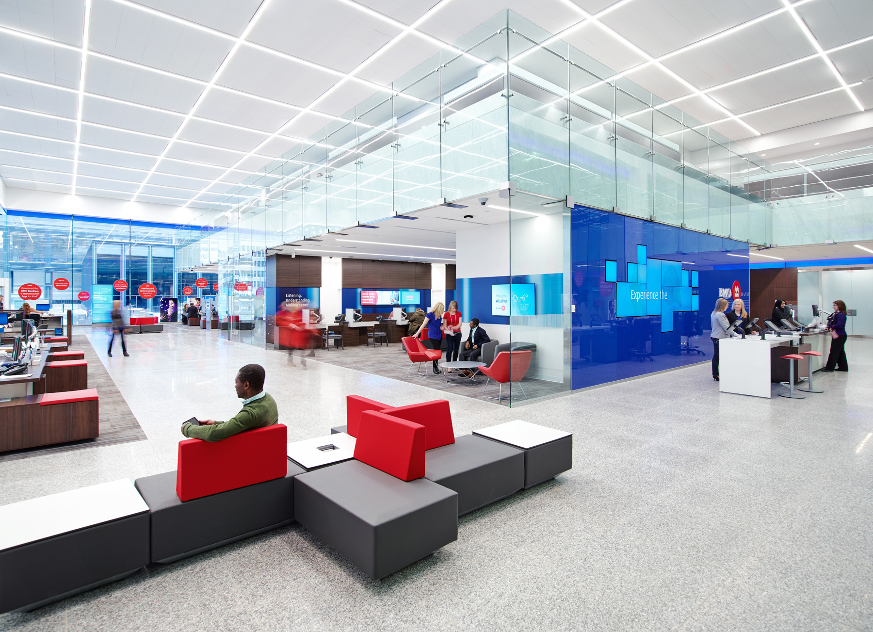 BMO interior with seating areas, work spaces, and social spaces