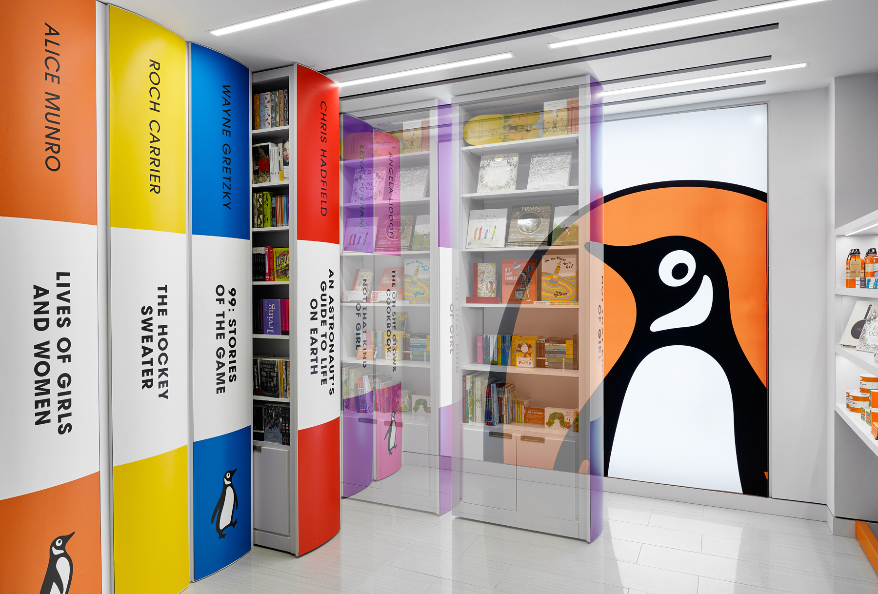 Penguin Shop rendering showing how shelves pull out