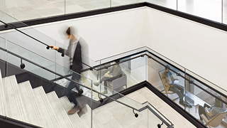 OMERS modern internal staircase black and white with glass