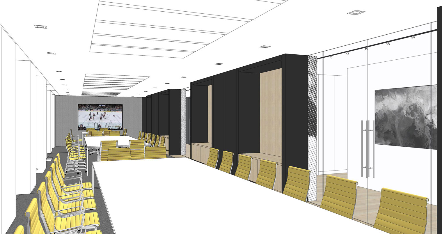 NHLPA rendering of meeting room with large conference table and yellow desk chairs
