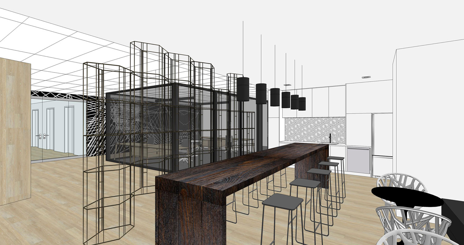 NHLPA rendering of servery with long wood bar table and stools in front of decorative metal screen