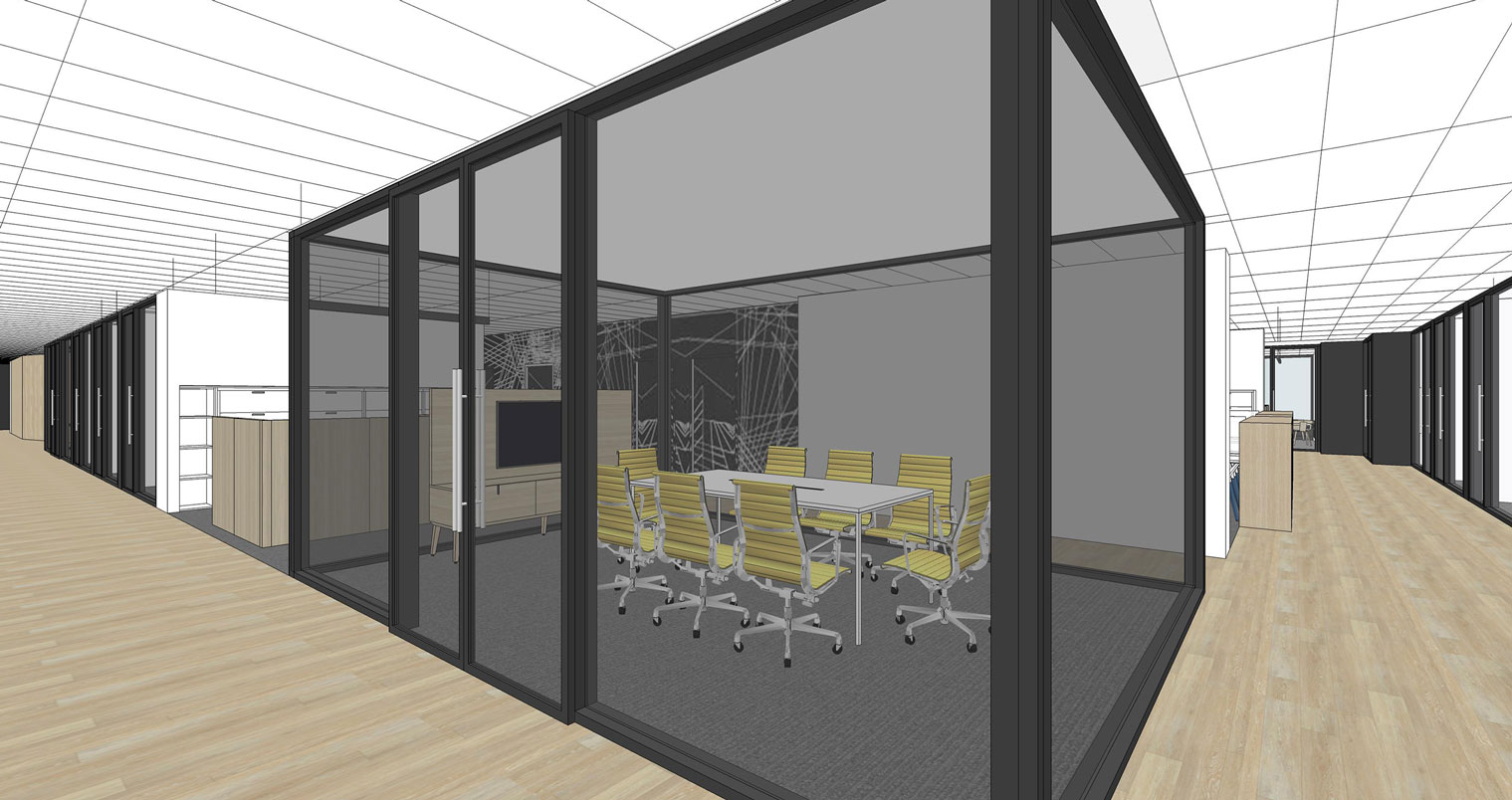 NHLPA rendering view into meeting room through black tinted glass walls