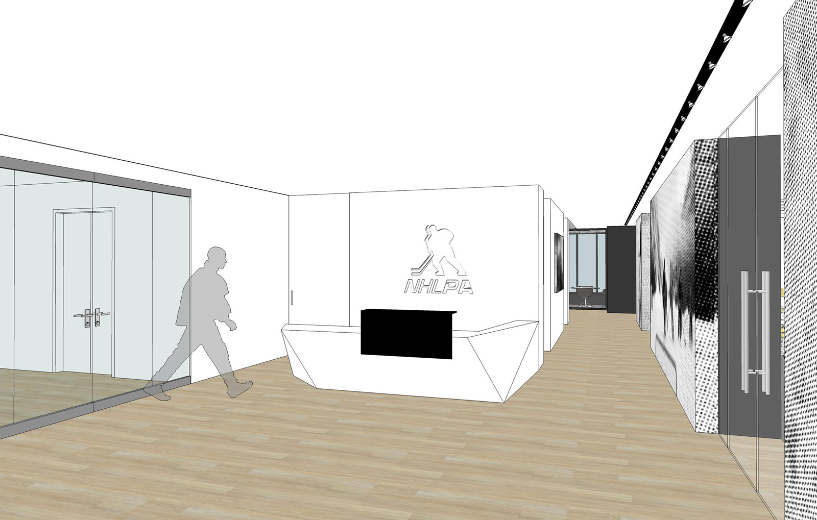 NHLPA rendering of reception area with wood floor and reception desk with NHLPA logo behind