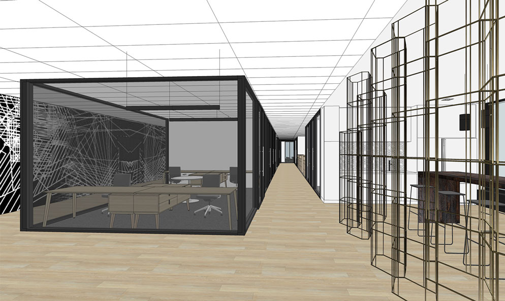 NHLPA rendering of hallway with wood floors and smoked glass walls that show into meeting room
