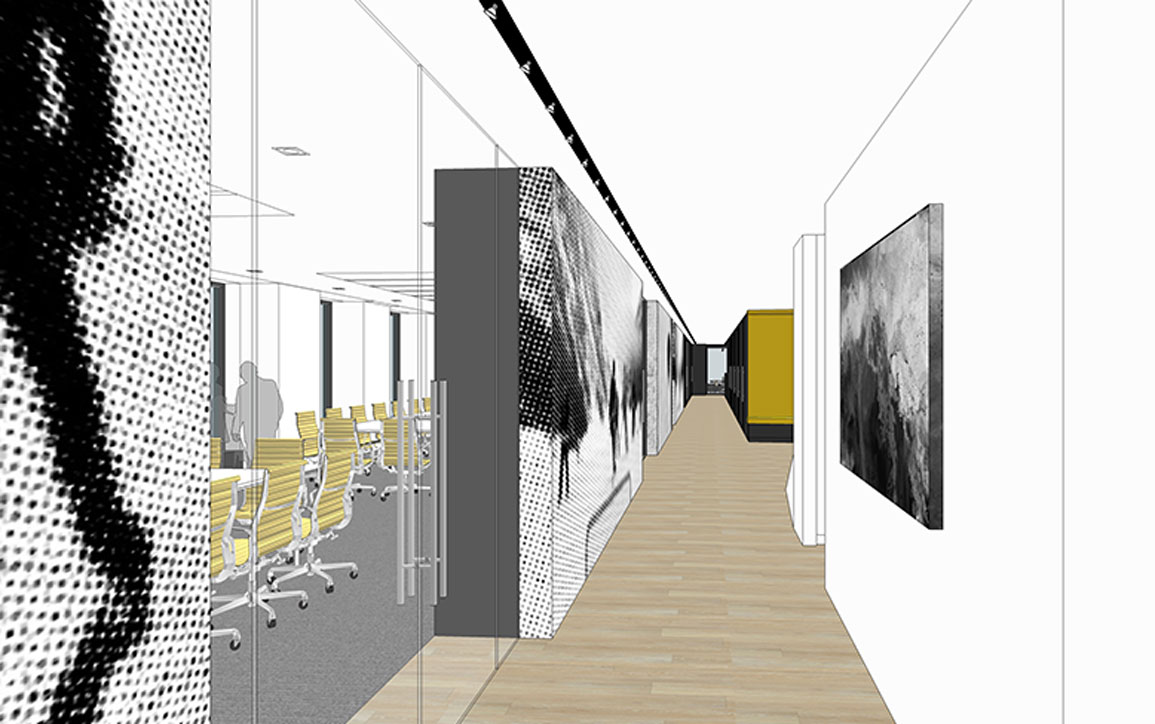 NHLPA rendering hallway with yellow and black graphics on wall