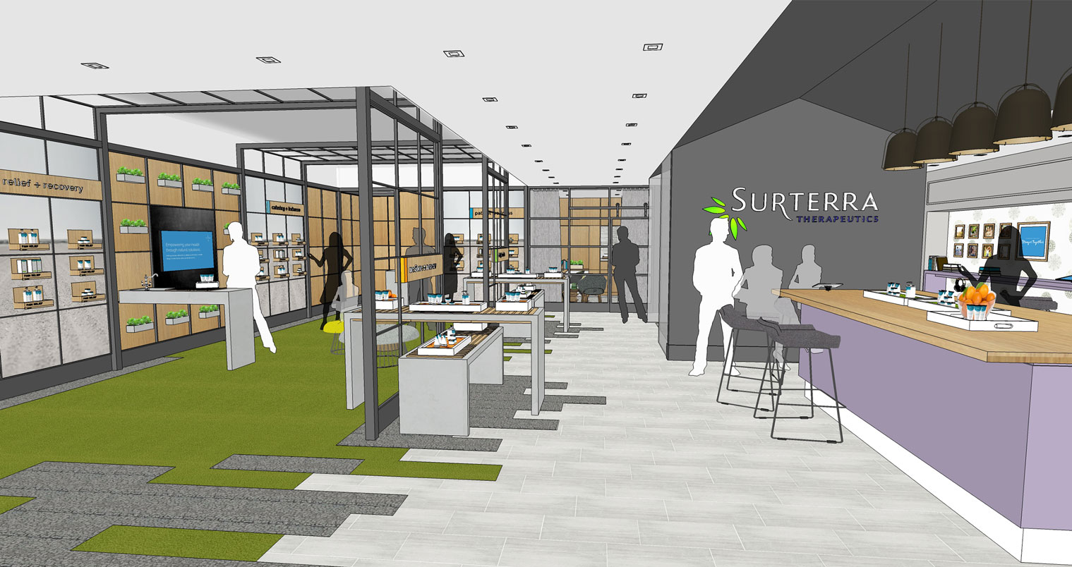 Surterra rendering showing kitchen and garden
