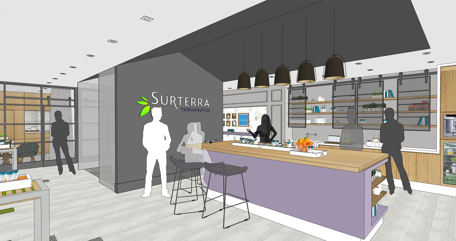 Surterra rendering showing kitchen with purple island