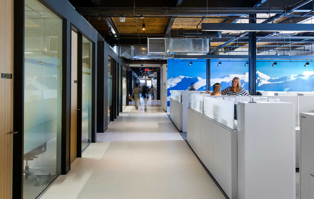 Canada Goose's head office has breakout rooms adjacent to workstations