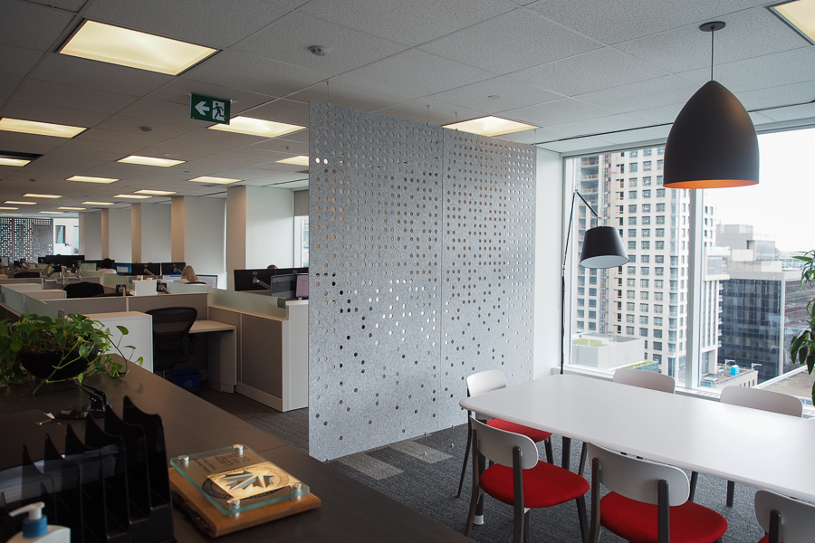 Sound baffles create auditory and visual privacy at Colliers Toronto