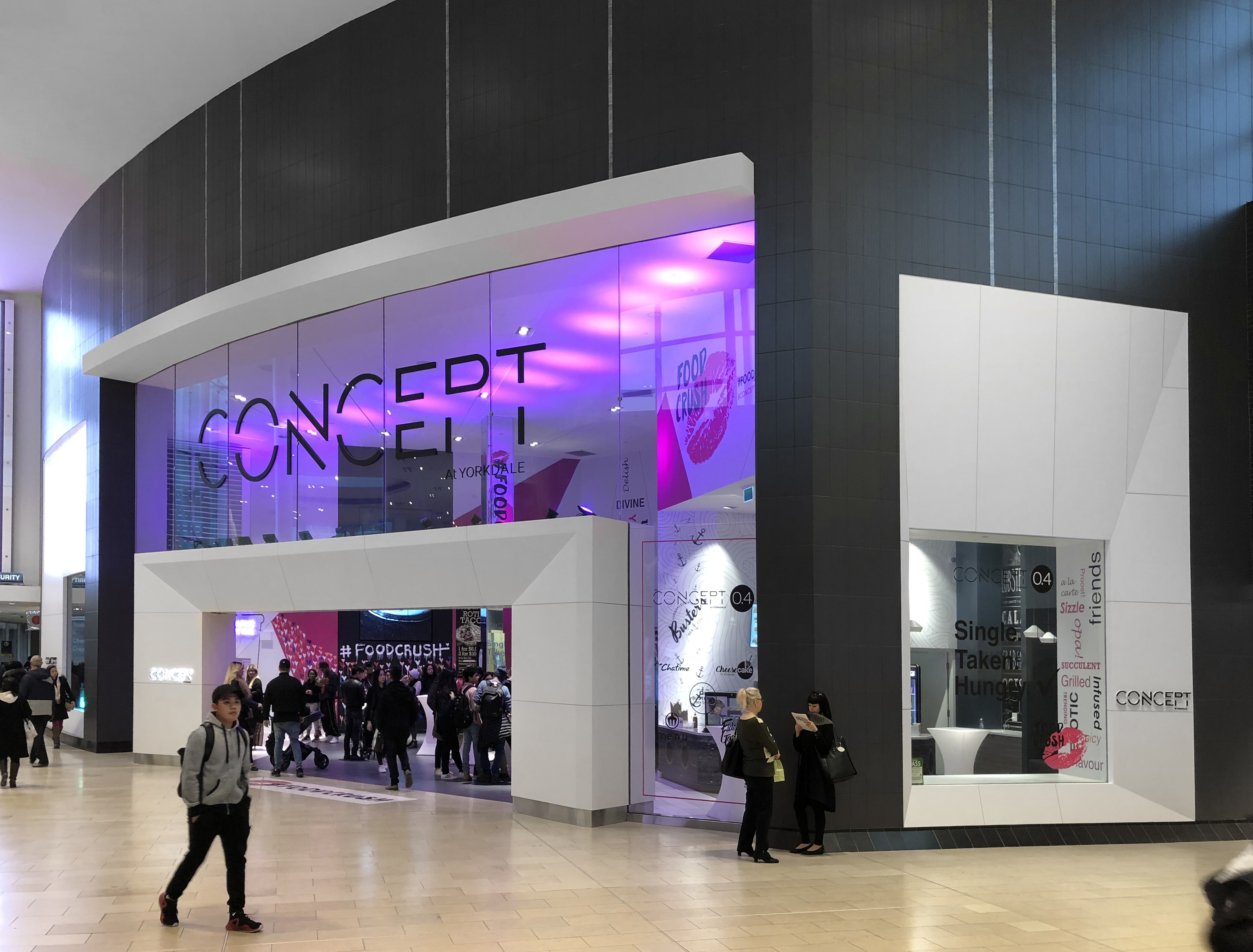 Concept Yorkdale mall entrance with Concept sign and purple lighting