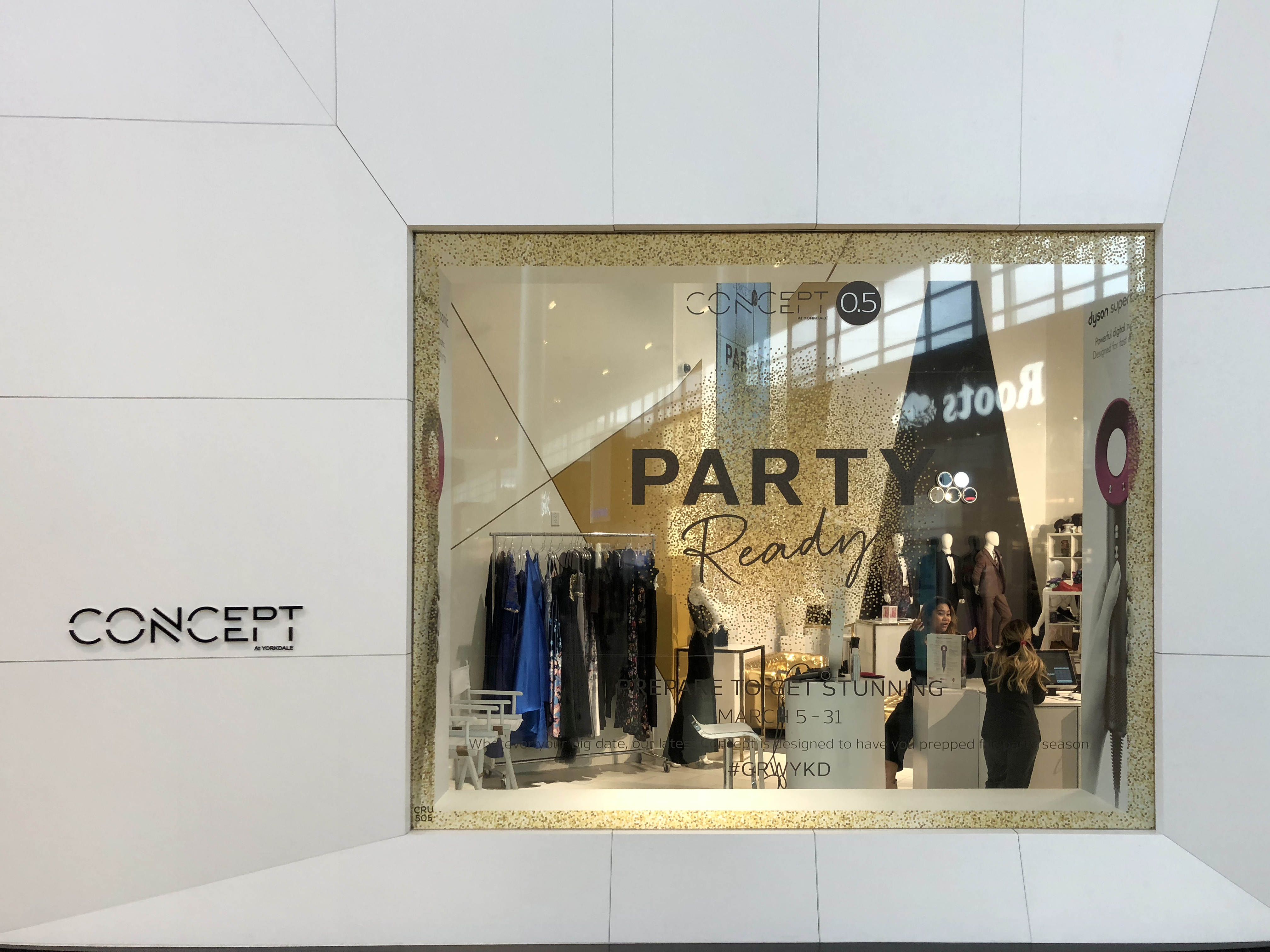 Concept Yorkdale window with clothing in store behind