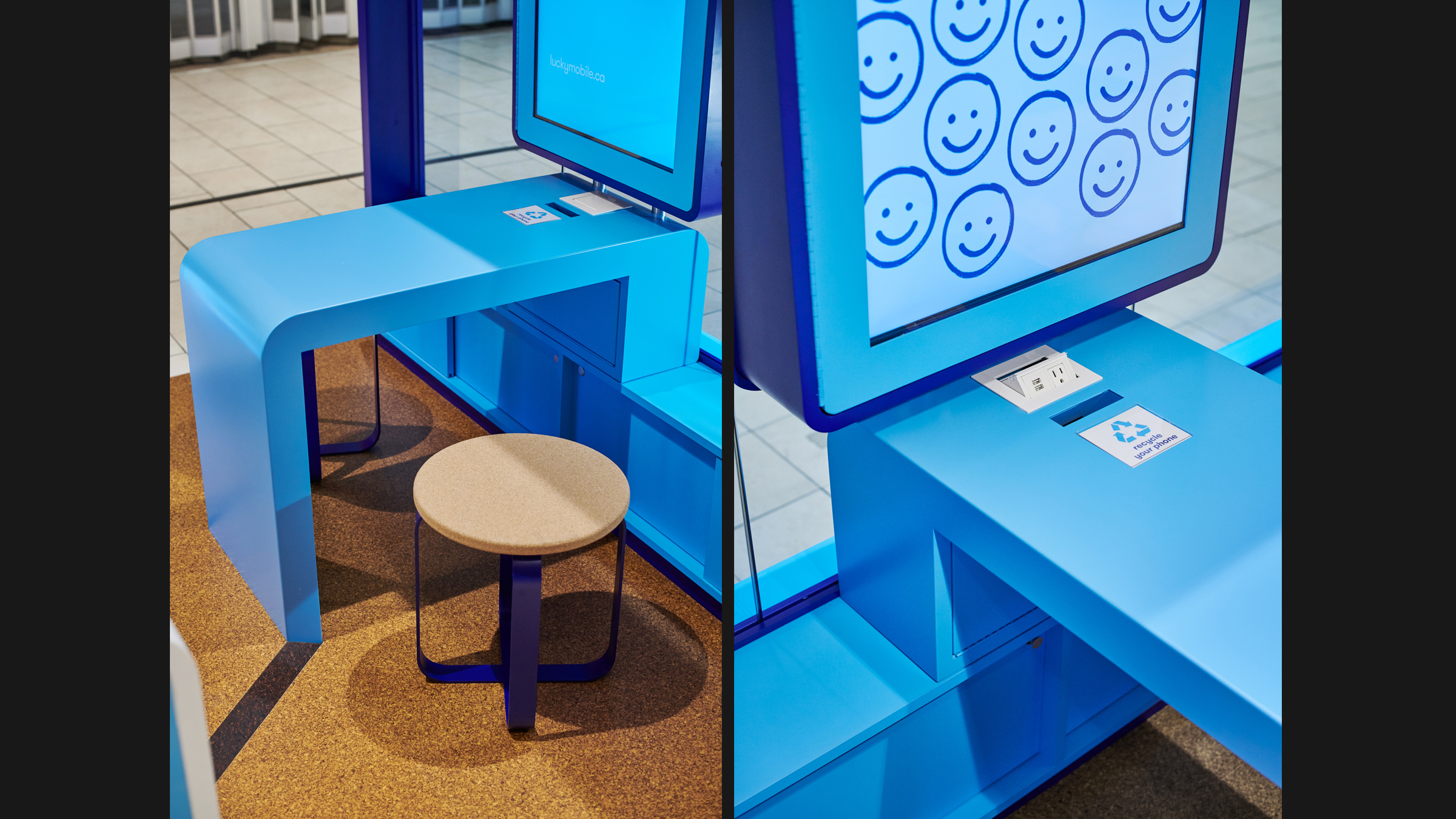 Lucky Mobile kiosk detail of stool seating and blue tabletop