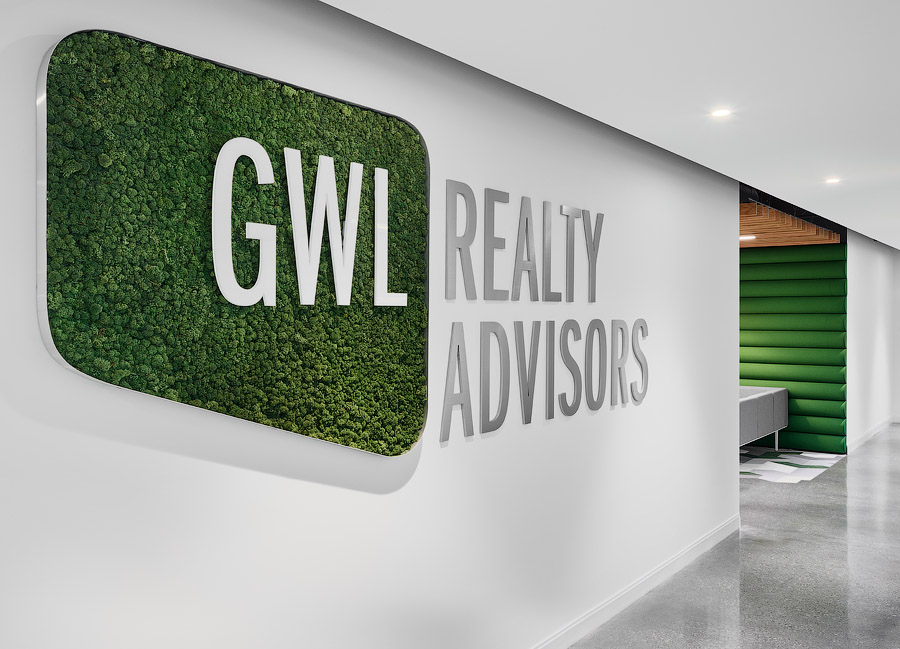 GWL Realty Advisors wall with logo and moss