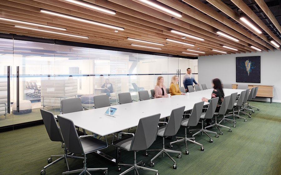 GWL-RA office meeting room with wood slat ceiling, large conference table, and green carpeting