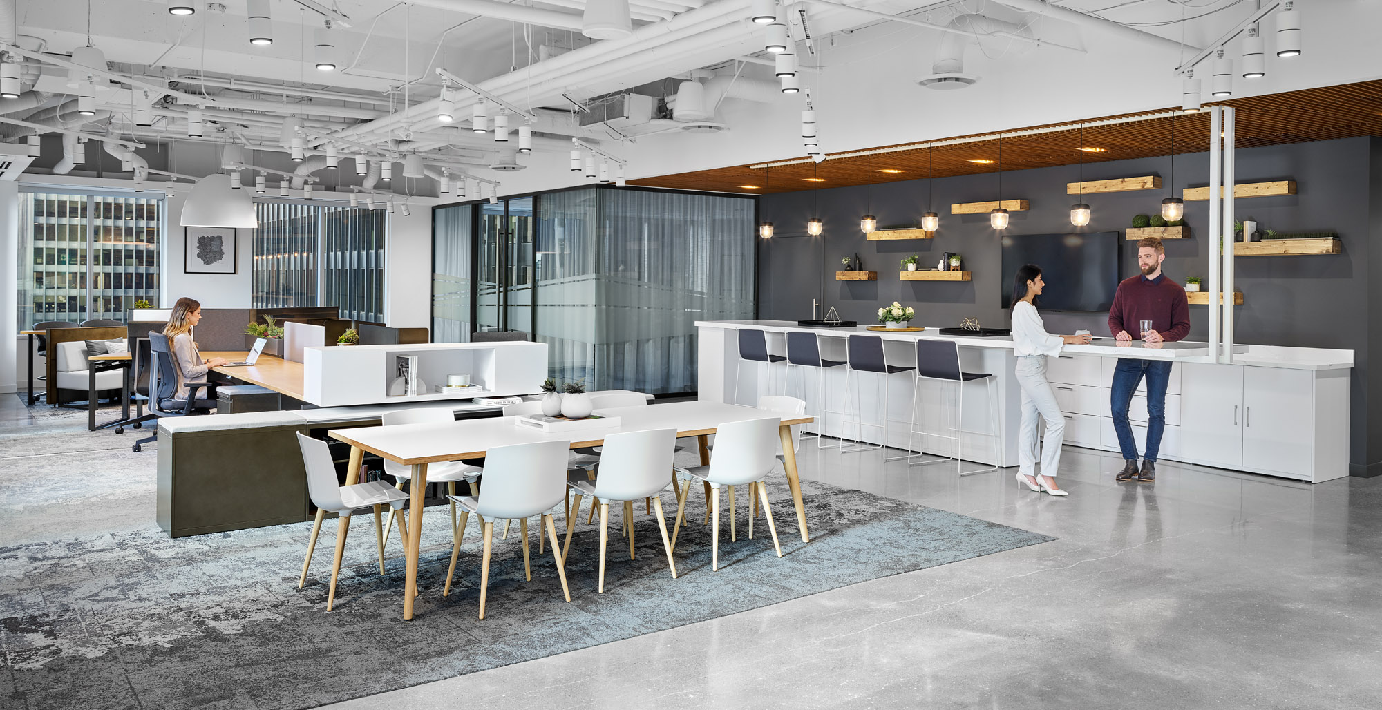 Inscape Toronto showroom kitchen with tables and concrete floors