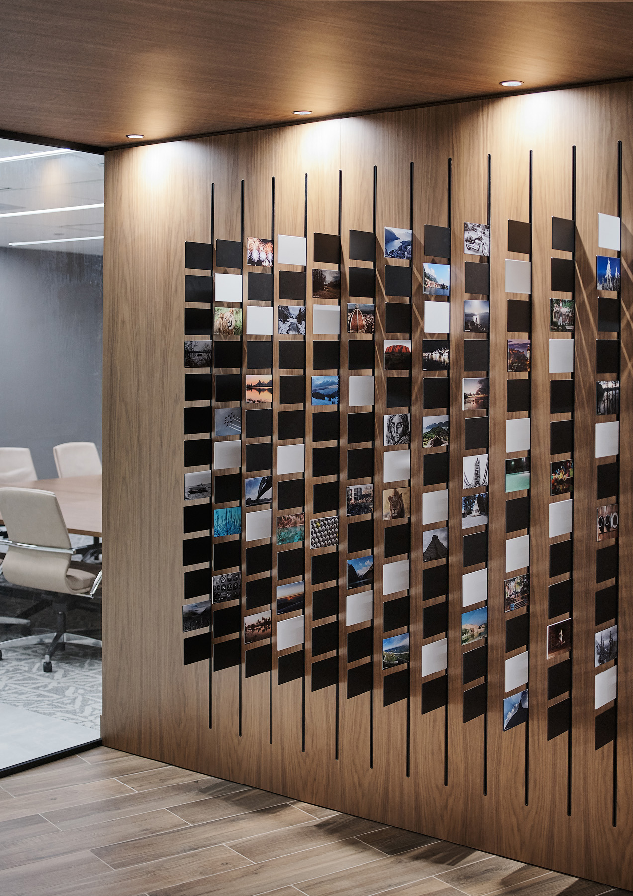 Optimus Toronto art wall with various photos representing DNA pattern