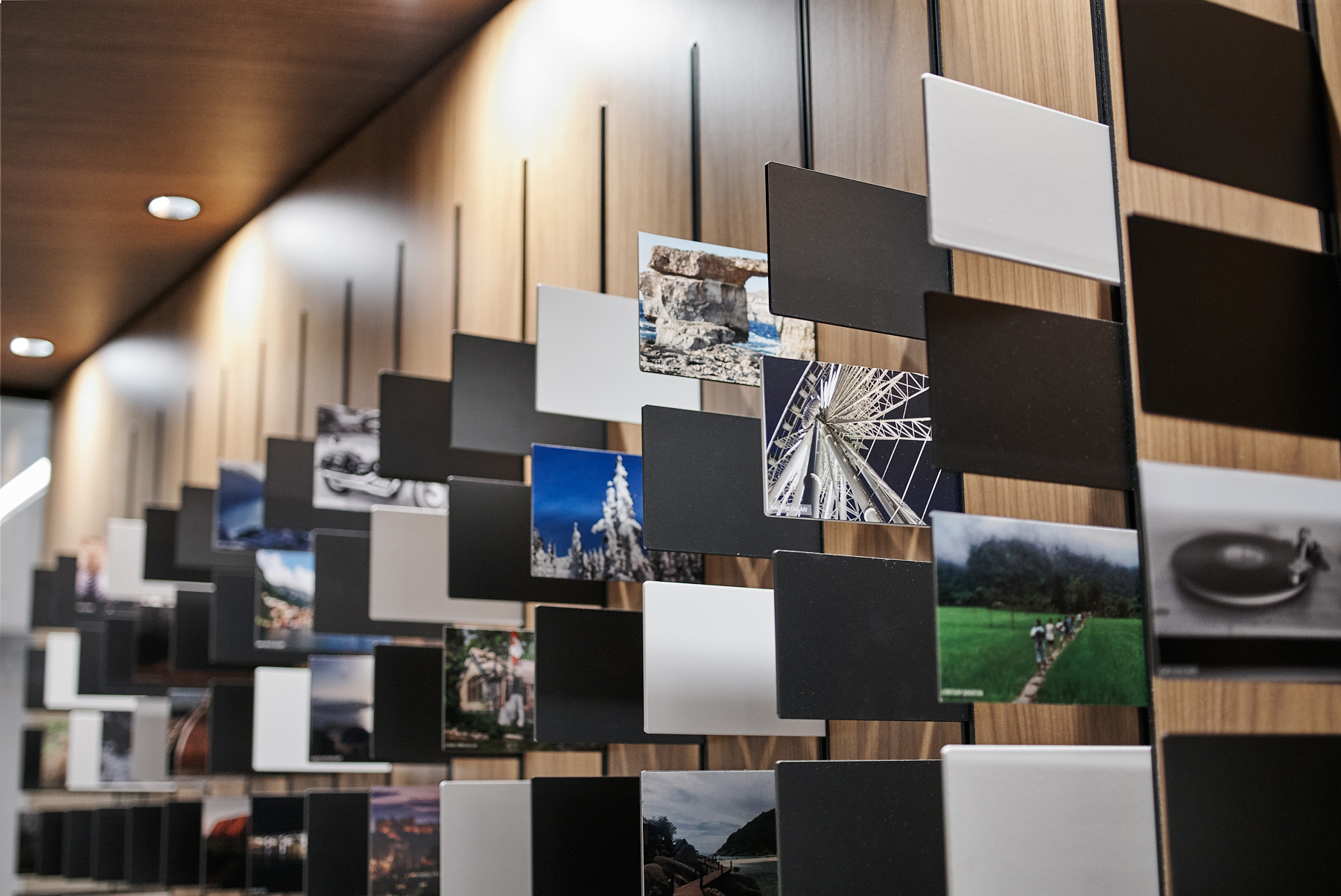 Optimus Toronto feature art wall with photos that represent DNA