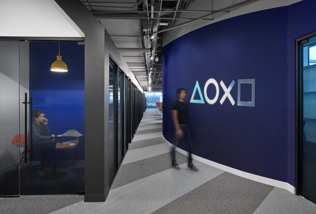 The front entrance features the iconic Playstation graphic.
