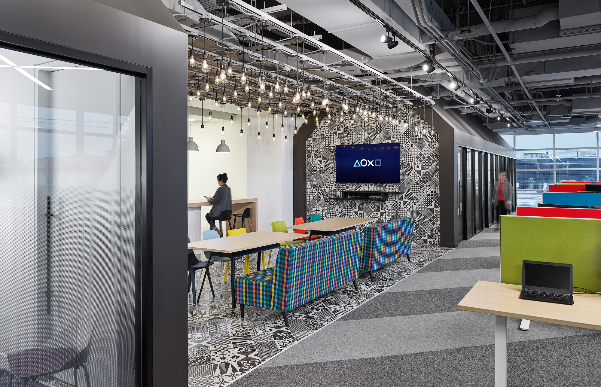 Sony SIE Toronto office kitchen with patterned wallpaper and colourful upholstery