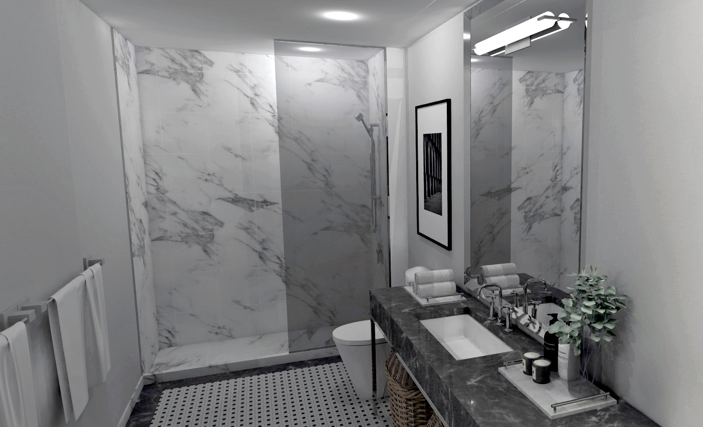 The National Club Hotel Bathroom with white marble walls, grey marble countertop, and black and white tile floor