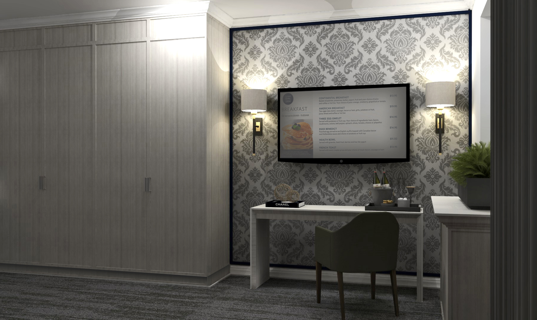 National Club hotel suite desk with digital screen and patterned wallpaper