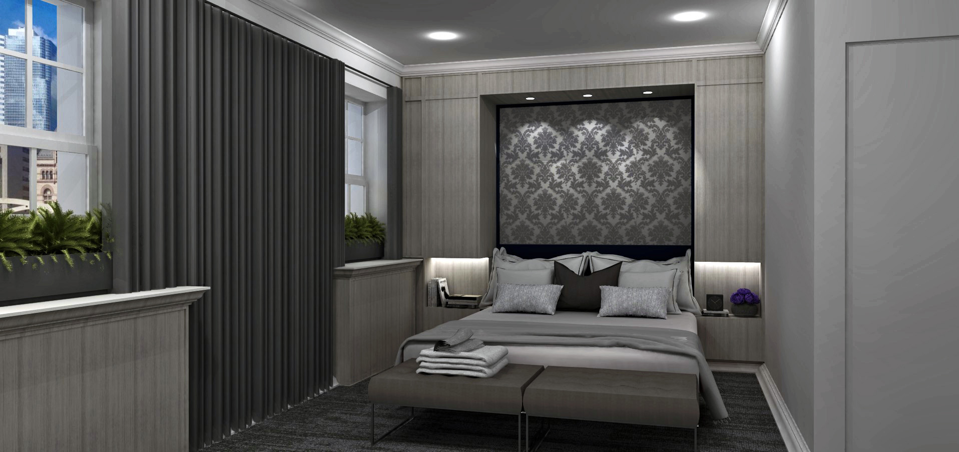 The National Club hotel suite with grey patterned wall paper behind bed, grey walls, and charcoal drapery