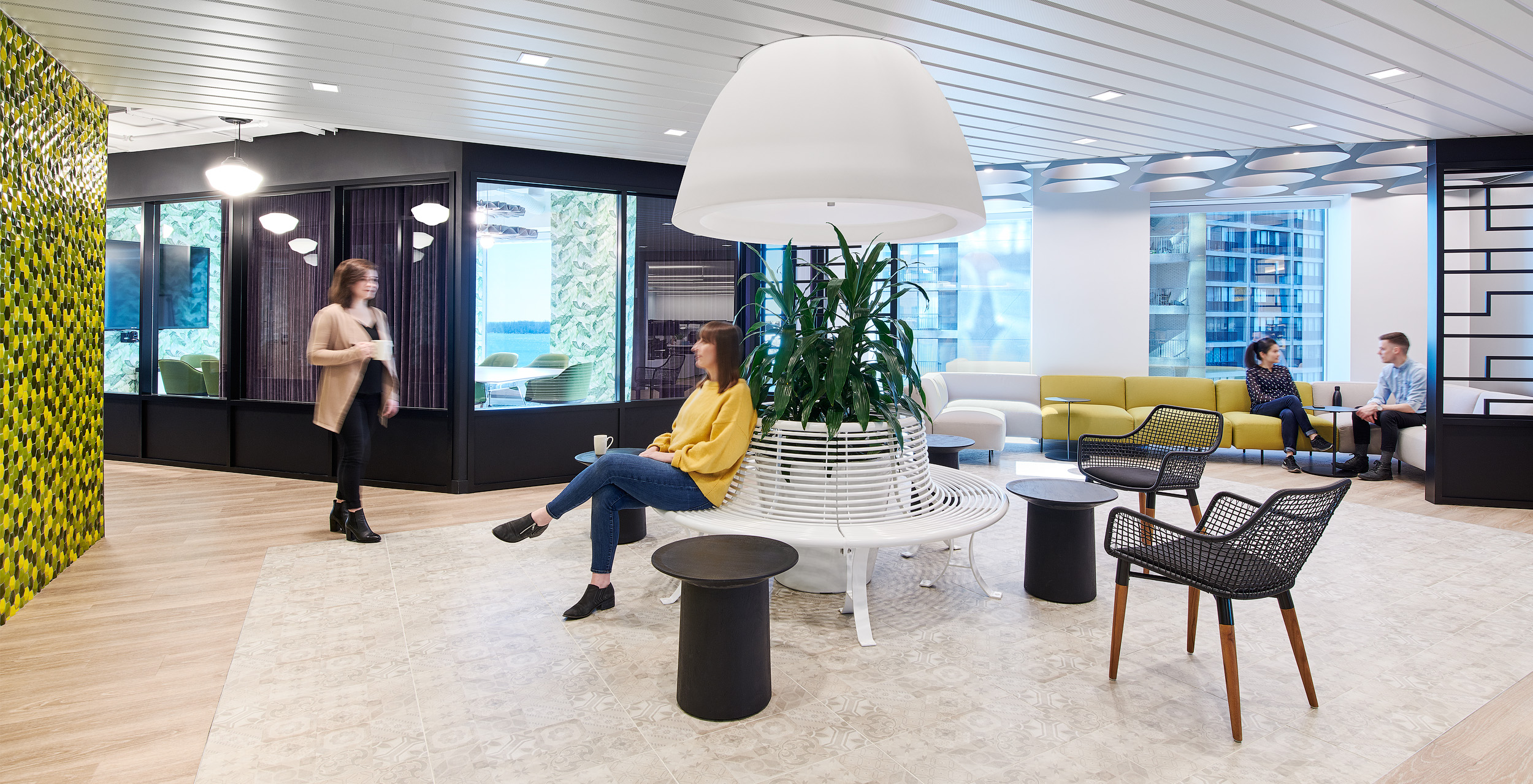 Mediabrands lobby with patterned foor, large white domed light in centre above green plant, and windows in background
