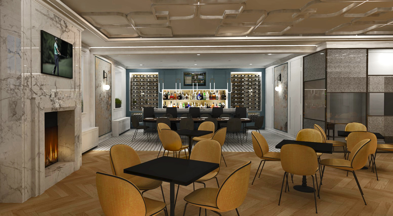 The National Club restaurant with yellow dining chairs, marble fireplace, at bar in back with light blue wall